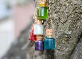 Handmade Potions Necklace by Ohai-Mary
