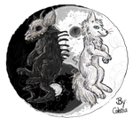 yin and yang wolves by snugglemonkey