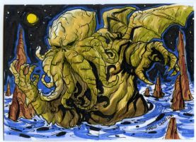 Cthulhu 2 sketch card commission by mdavidct