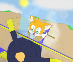 Tails flying a tornado by NomadNoita