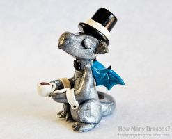 Silver Dapper Dragon Drinking Tea by HowManyDragons