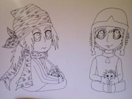 Kouji and Sora with Digimon plushies by CTPikk1223
