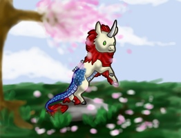 Kirin on a Rock in a Meadow with Cherry Blossoms by Perocore