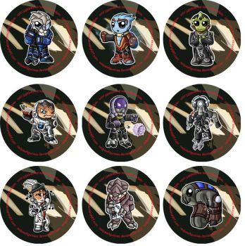 Mass Effect Chibi Badges by RedPawDesigns