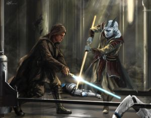 Commission Painting Jedi Temple Assault by Entar0178