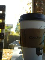 Leaves and Coffee by Gell-pen