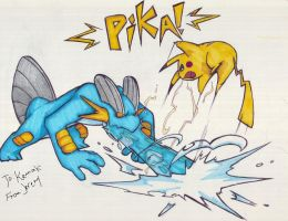 swampert vs pikachu for kennak by ClydeBob