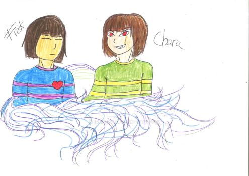 Frisk and Chara by IrmitXD