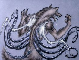 werewolf with mental tentacles and bone wings by Calivander