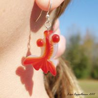 Orange Agate Goldfish Earrings by Cillana