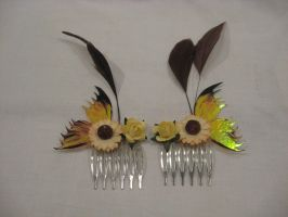 Yellow fairy wing hair combs by assassin-kitty