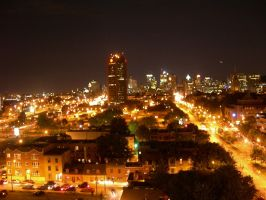 Montreal at night by tomegatherion