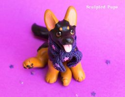 German Shepherd Puppy with starry scarf by SculptedPups