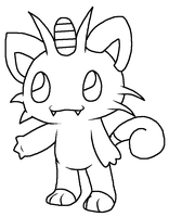 chibi meowth base by Kat-Skittychu