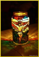 Christ on the Cross Candle by Bonniemarie