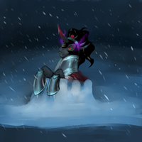 Sombra in a Snowfort by peachiekeenie