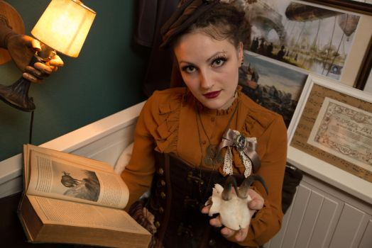 [STOCK] Steampunk Girl with book and skull by AyraLeona
