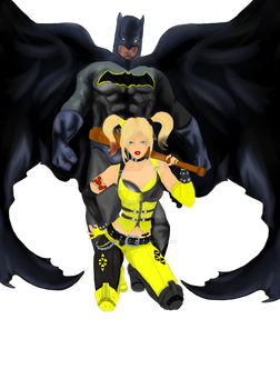 Batman and Harley - Tattoo Commission Complete png by WickedBuggy