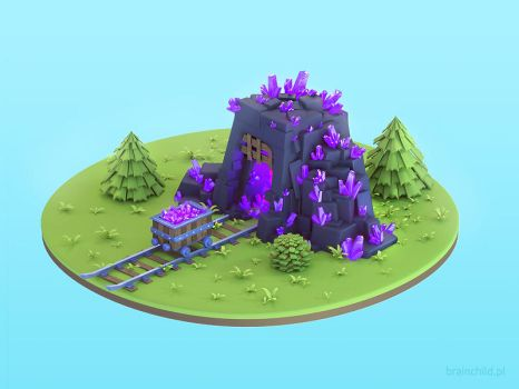3d prerendered Crystal Mine Building for a Mobile by brainchilds