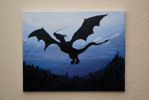 dragon silhouette acrylic painting by evilhedgehog2011