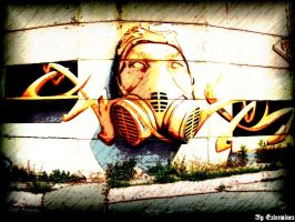 Gas mask - awesome graffiti by ExterminexCZ