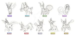 Sketch - Fakemon Eeveelutions by afo2006