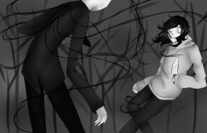 Slender and some stabby guy by SullyThePenguin