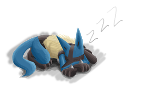 Sleeping Lucario by Dogwhitesector
