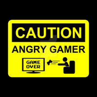 Angry Gamer Caution Sign T-shirt by Pegbeard