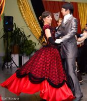 red ball gown by Korff