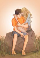 Percy + Annabeth by illustrationrookie