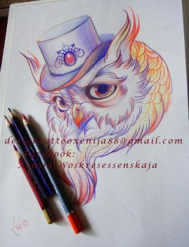 Tattoo design - Owls head by Xenija88