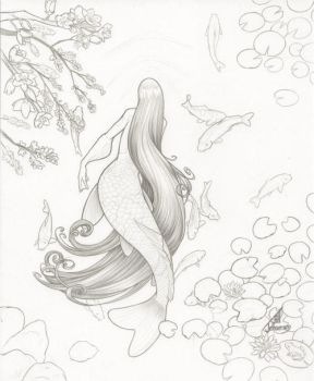 Koi Mermaid Pencils by JillJohansen