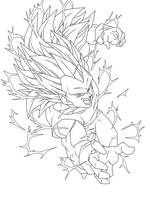 SSJ 3 Vegeta Lineart by Arrancarippo