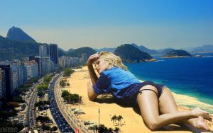 Giantess Candice Swanepoel beach by lowerrider
