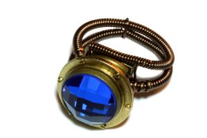 Steampunk Ring with brass porthole and blue jewel by CatherinetteRings