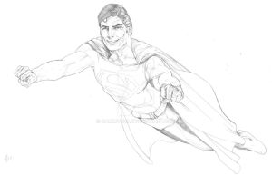 Christopher Reeve Superman pencils WIP by SammyG23