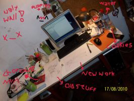 My desk... Working... by Drixi