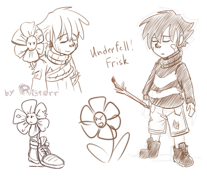 Underfell Sketches - Frisk and Flowey by Ristorr
