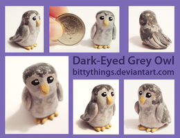 Dark-Eyed Grey Owl - SOLD by Bittythings