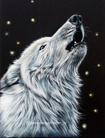Howling white wolf by Tinesdierportretten