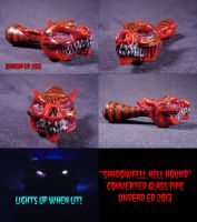 Shadowfell Hell Hound Converted Glass Pipe by Undead-Art