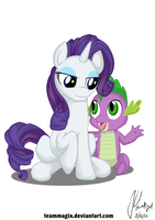 Spike and Rarity sitting by teammagix