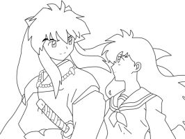 IY and Kagome Lineart by DesertViper