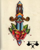 tattoo-flash dagger and rose by Tausend-Nadeln