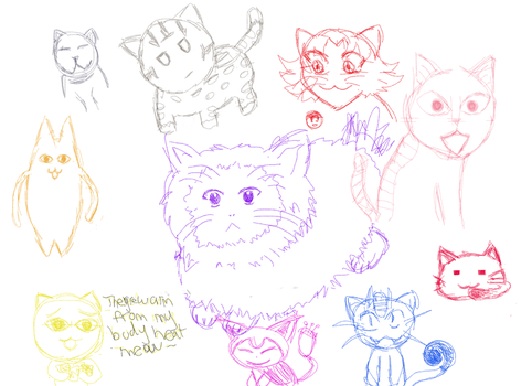 Anime Cat Sketches by Shay-Sama