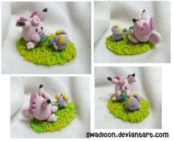 Clefable and Whismur by Swadloon