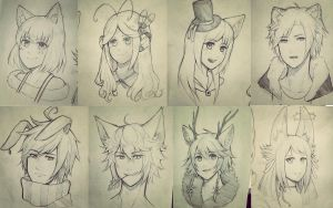 Traditional Headshot Sketch Commissions by yukinayee