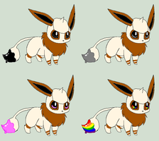 Eevee Smeargle Adopts 3 [1/4 Open] by ReinFalling