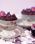 Chocolate cupcake w/Lavender Chocolate Royal Icing by theresahelmer